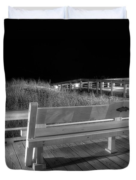 Dune Bench At Night In Black And White Duvet Cover