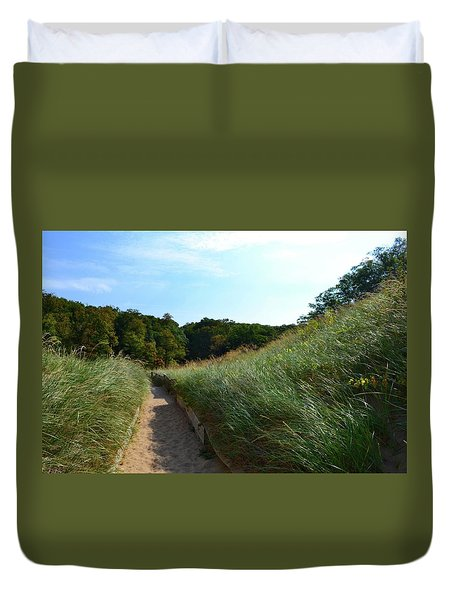 Duvet Cover featuring the photograph Dune Path At Laketown by Michelle Calkins