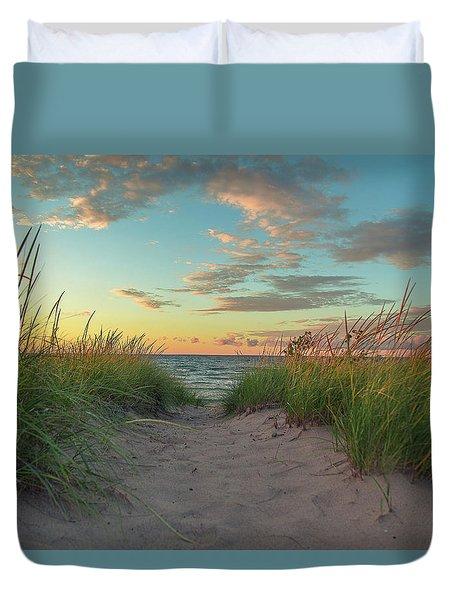 Dune Path At Sunset Duvet Cover