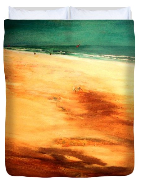 Duvet Cover featuring the painting Dune Shadows by Winsome Gunning
