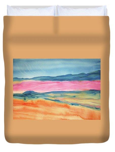 Duvet Cover featuring the painting Dunes by Ellen Levinson