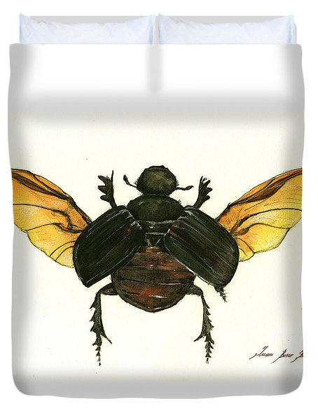 Dung Beetle Duvet Cover by Juan Bosco