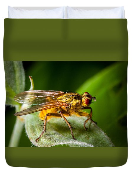 Dung Fly On Leaf Duvet Cover