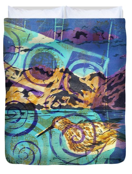Dunlin On Mudflats Duvet Cover by Cynthia Lagoudakis