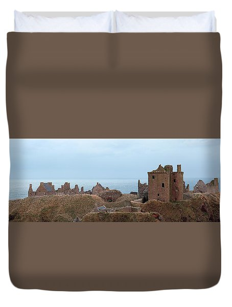 Duvet Cover featuring the photograph Dunnottar Castle Moonrise Panorama by Grant Glendinning