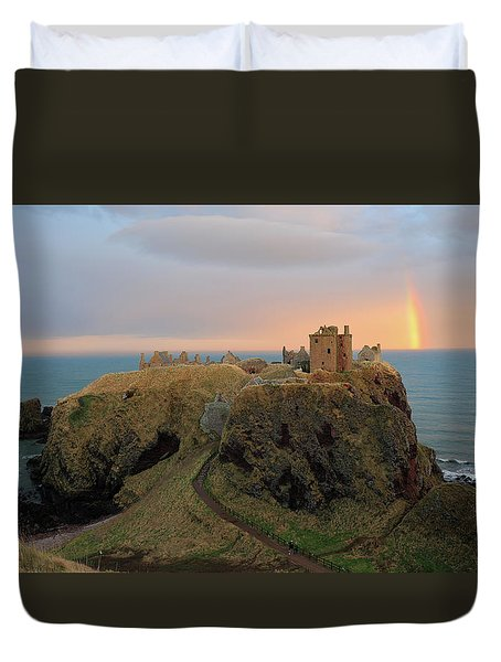 Duvet Cover featuring the photograph Dunnottar Castle Sunset Rainbow by Grant Glendinning