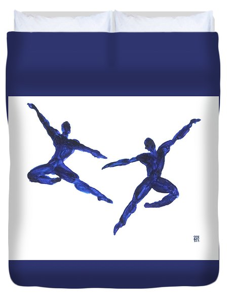 Duvet Cover featuring the painting Duo Leap Blue by Shungaboy X