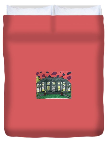 Duvet Cover featuring the painting Dupont Family Mansion. by Jonathon Hansen