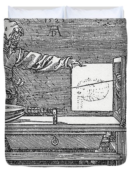 Durers Perspective Drawing Of A Lute Duvet Cover by Science Source