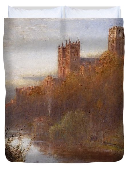 Durham Cathedral Duvet Cover by Albert Goodwin