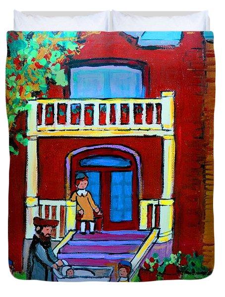 Durocher Street Montreal Duvet Cover by Carole Spandau