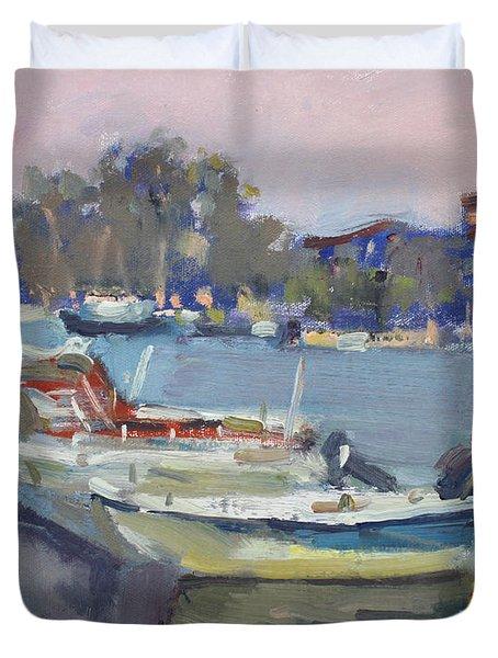 Dusk At Chalkoutsi's Harbor Greece Duvet Cover