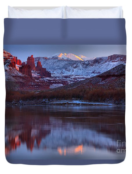 Duvet Cover featuring the photograph Dusk At Fisher Towers by Adam Jewell