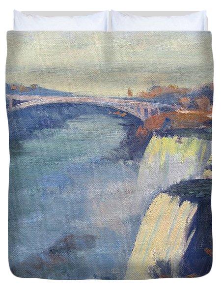 Dusk At Niagara Falls Duvet Cover