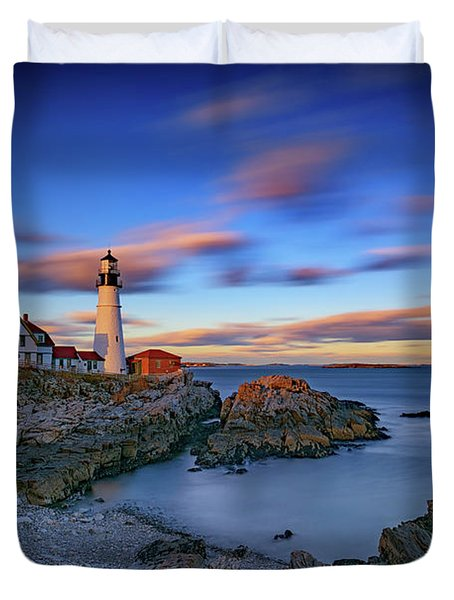 Dusk At Portland Head Lighthouse Duvet Cover