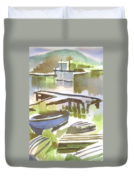 Duvet Cover featuring the painting Dusk At The Boat Dock by Kip DeVore