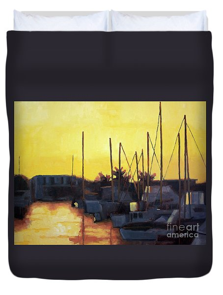 Dusk At The Marina Duvet Cover