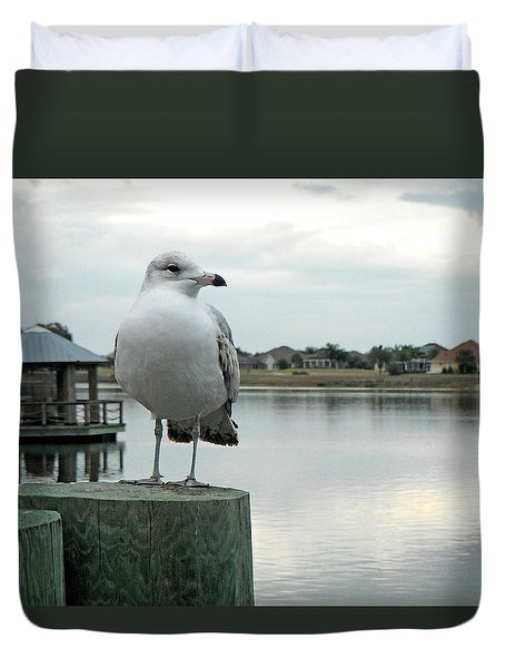 Duvet Cover featuring the painting Dusk At The Pier by Martha Ayotte