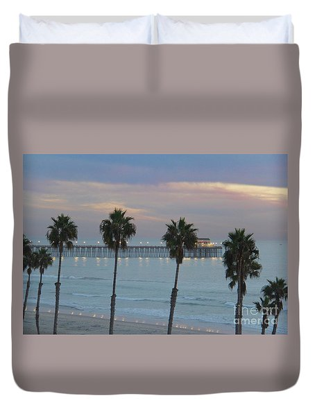 Dusk At The Pier Duvet Cover