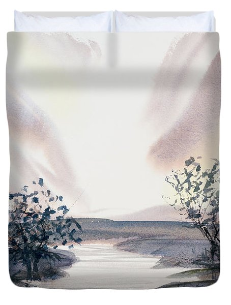 Dusk Creeping Up The River Duvet Cover
