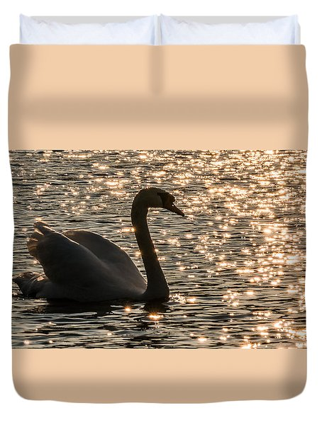Dusk Descends On The Waters Duvet Cover
