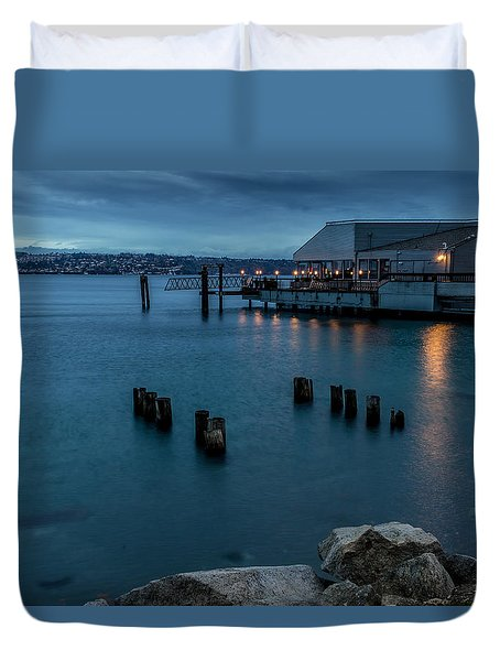 Dusk Falls Over The Lobster Shop Duvet Cover