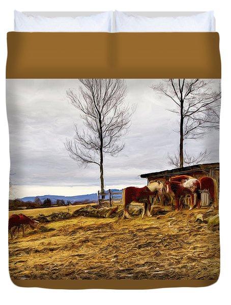 Dusk Feeding On The Farm Duvet Cover