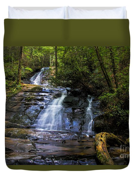 Duvet Cover featuring the photograph Dusk Light At Flat Branch Falls by Barbara Bowen
