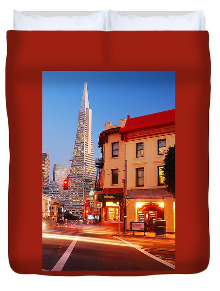 Duvet Cover featuring the photograph Dusk On San Francisco by James Kirkikis