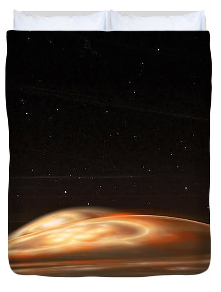 Duvet Cover featuring the digital art Dust Storm On The Red Planet by Richard Ortolano