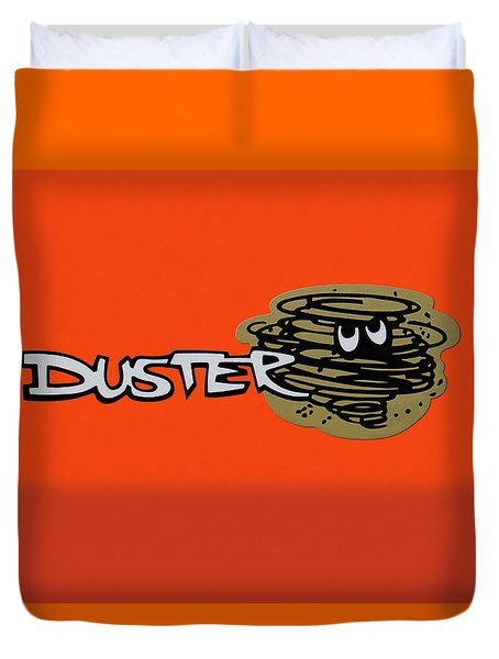 Duvet Cover featuring the photograph Duster Emblem by Mike McGlothlen