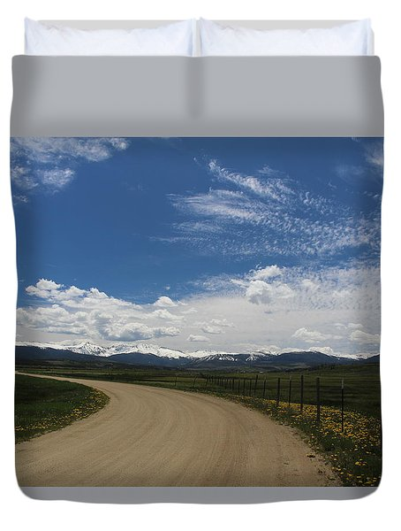 Dusty  Road Duvet Cover by Suzanne Lorenz