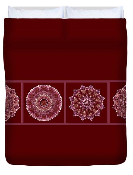 Dusty Rose Mandala Fractal Panel Duvet Cover