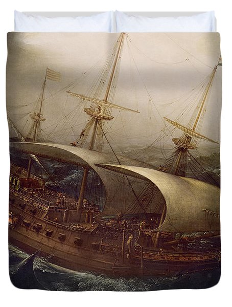 Dutch Battleship In A Storm Duvet Cover by Hendrick Cornelisz Vroom