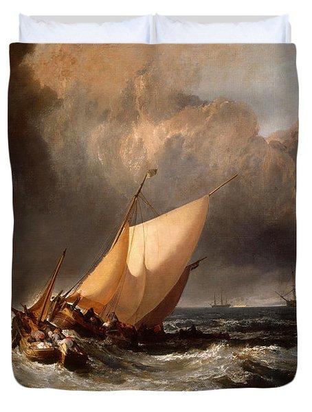 Dutch Boats In A Gale Duvet Cover
