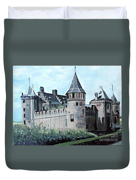 Dutch Castle In Muiden Duvet Cover