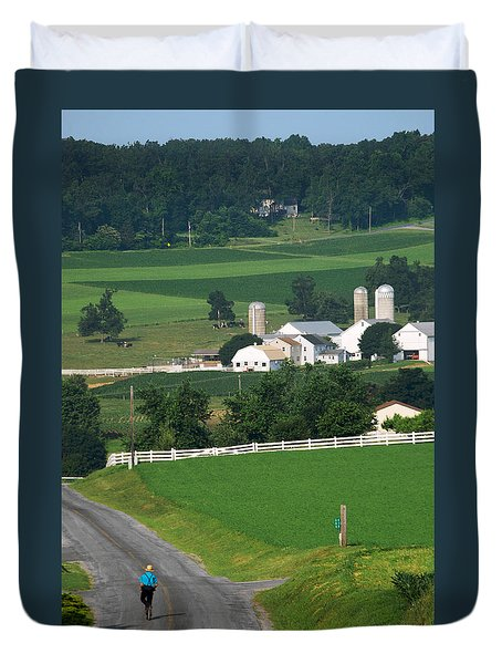 Dutch Country Bike Ride Duvet Cover