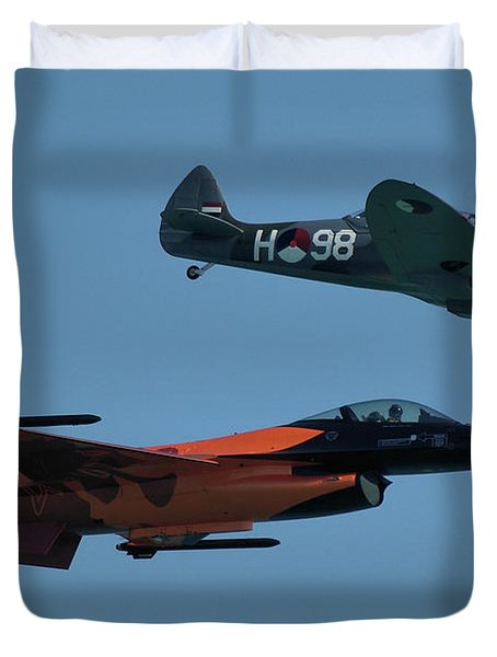 Dutch F-16 And Spitfire Duvet Cover