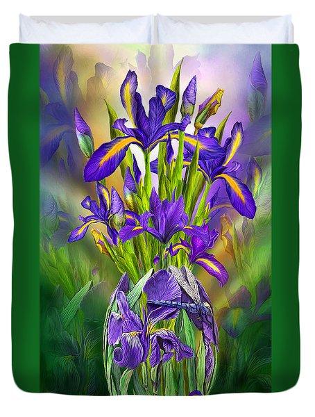 Dutch Iris In Iris Vase Duvet Cover by Carol Cavalaris