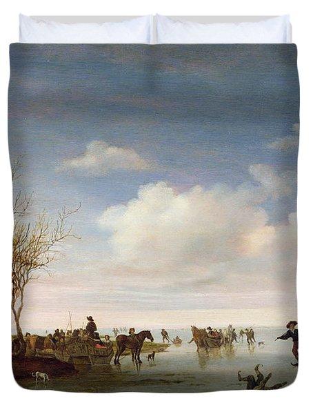Dutch Landscape With Skaters Duvet Cover by Salomon van Ruysdael
