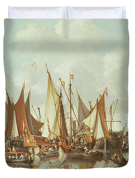 Dutch Ships At Dordrecht Harbor Duvet Cover
