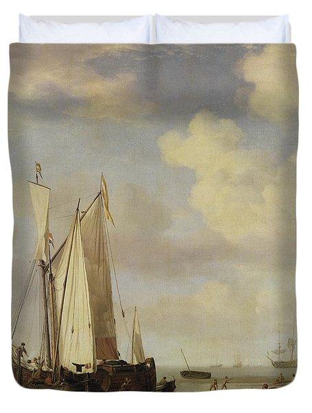Dutch Vessels Inshore And Men Bathing Duvet Cover by Willem van de Velde