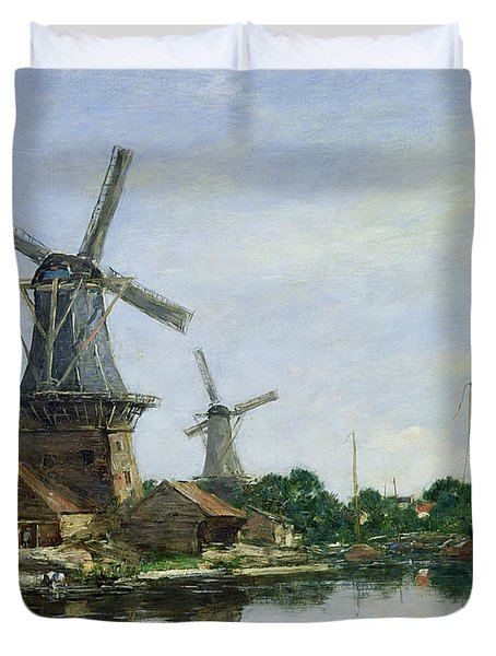 Dutch Windmills Duvet Cover by Eugene Louis Boudin