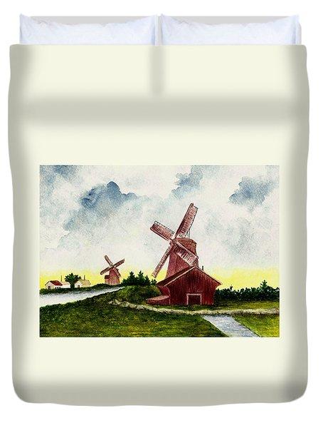 Dutch Windmills Duvet Cover by Michael Vigliotti