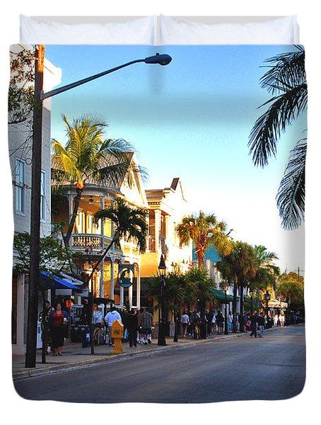 Duval Street In Key West Duvet Cover by Susanne Van Hulst