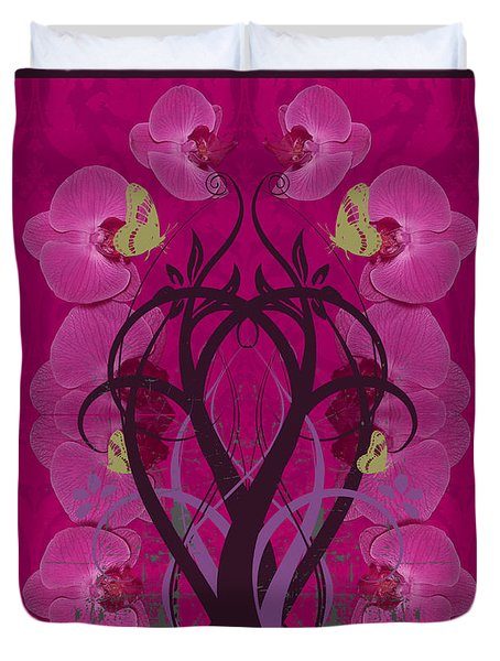 Duvet Cover featuring the photograph Duvet Abstract Orchids by Robert Kernodle