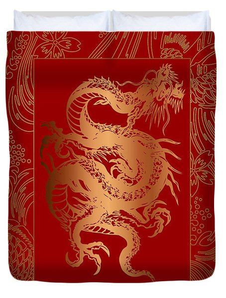 Duvet Cover featuring the photograph Duvet Oriental Dragon by Robert Kernodle