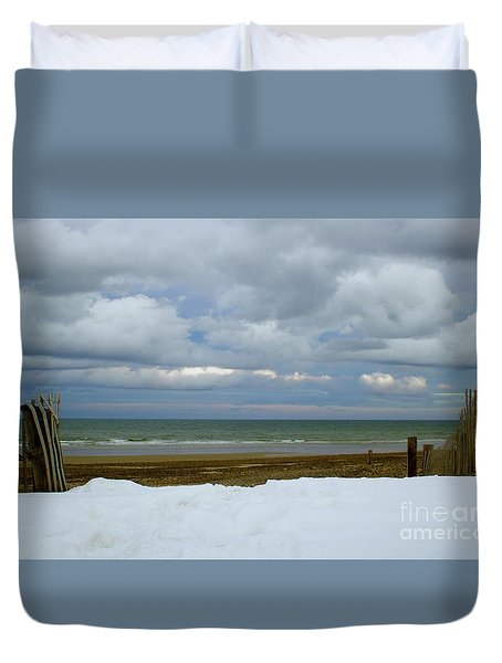Duxbury Beach 3rd Crossover Duvet Cover by Amazing Jules