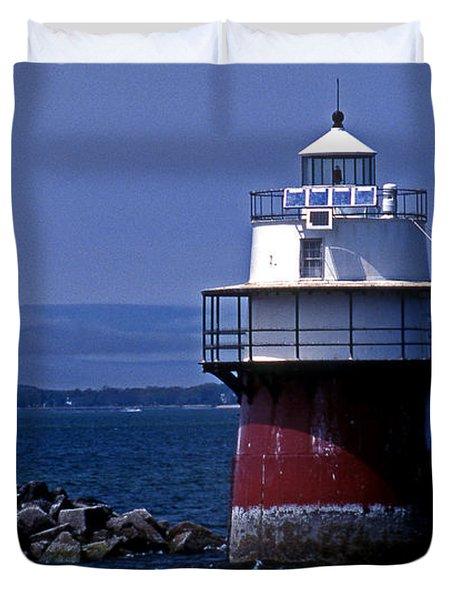 Duxbury Pier Lighthouse Ma Duvet Cover