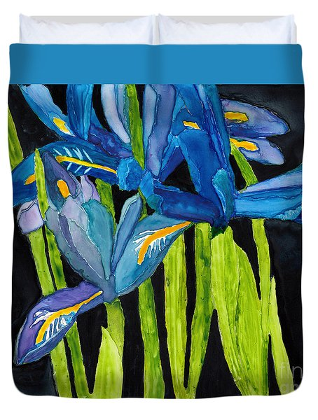 Dwarf Iris Watercolor On Yupo Duvet Cover